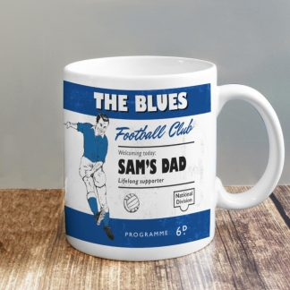 Personalised Vintage Football Blue and White Supporter's Mug