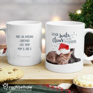 Personalised Rachael Hale Santa Claws Christmas Cat Mug