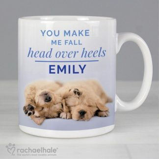 Personalised Rachael Hale Head Over Heels Puppy Mug