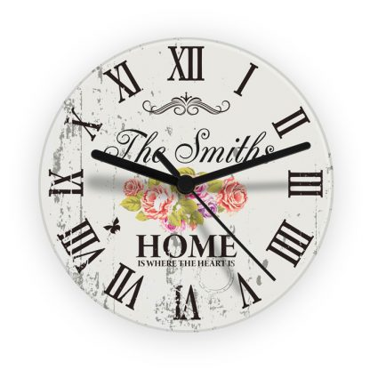 Personalised Shabby Chic HOME Glass Wall Clock