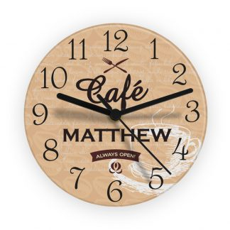 Personalised Bistro Glass Wall Clock