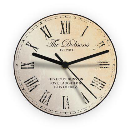 Personalised Rustic Glass Wall Clock