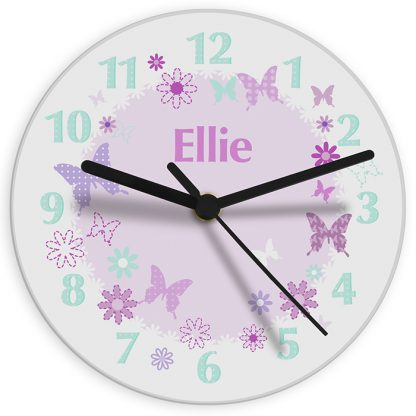 Personalised Butterfly Glass Wall Clock