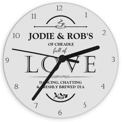 Personalised Full of LOVE Glass Wall Clock