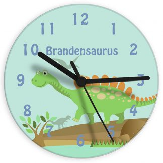 Personalised Dinosaur Glass Wall Clock
