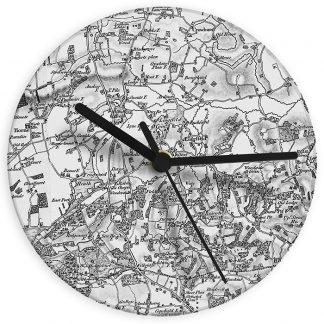 Personalised 1805 - 1874 Old Series UK Postcode Map Glass Wall Clock