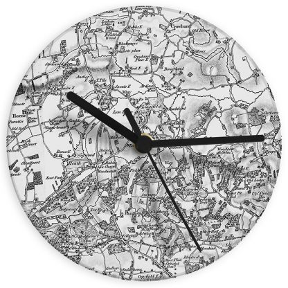 Personalised 1805 - 1874 Old Series UK Postcode Map Glass Wall Clock