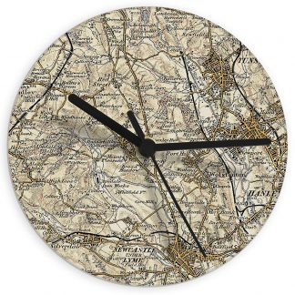 Personalised 1896 - 1904 Revised UK Postcode Map Glass Wall Clock