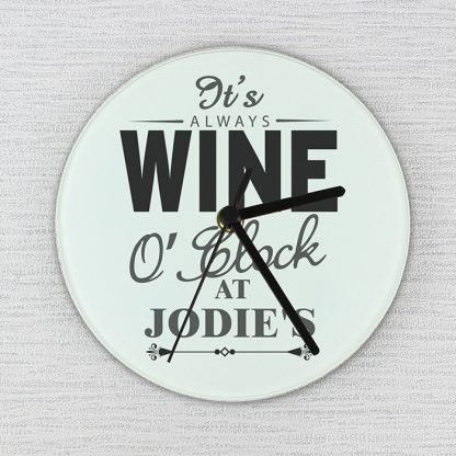 Personalised Wine OClock Glass Wall Clock