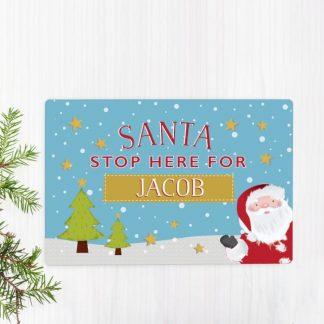 Personalised Santa Stop Here Metal Sign