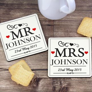 Personalised Mr & Mrs Coaster Set