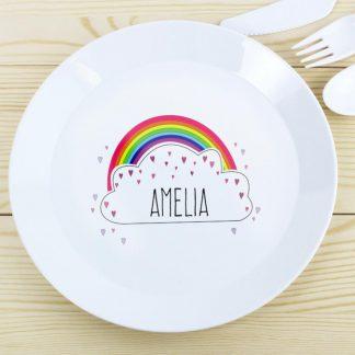 Personalised Rainbow Plastic Plate