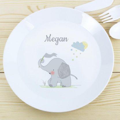 Personalised Hessian Elephant Plastic Plate