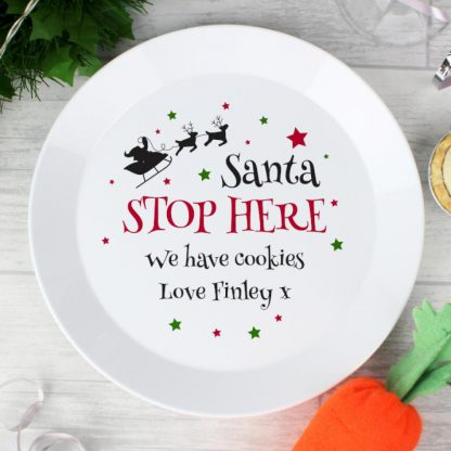 Personalised Santa Stop Here Plastic Plate