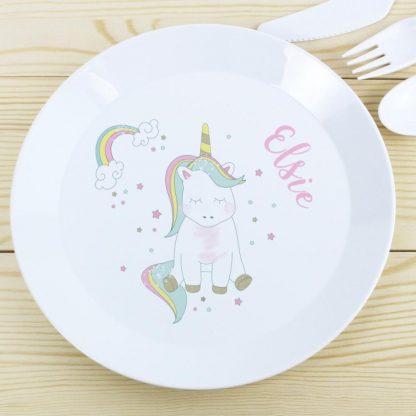 Personalised Baby Unicorn Plastic Plate