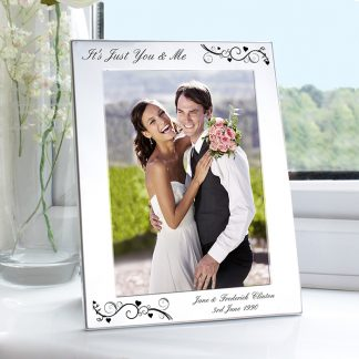 Personalised 7x5 Ornate Swirl Silver Photo Frame