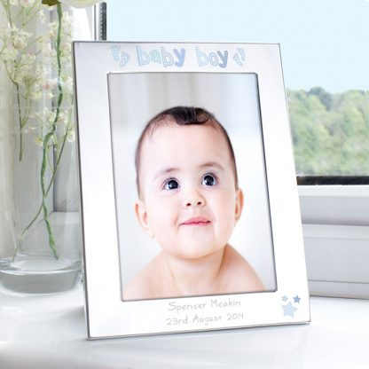 Personalised Silver 7x5 Baby Boy Footprint Photo Frame