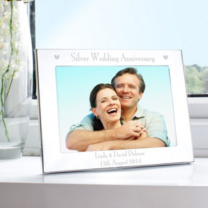 Personalised Silver 7x5 Silver Anniversary Landscape Photo Frame