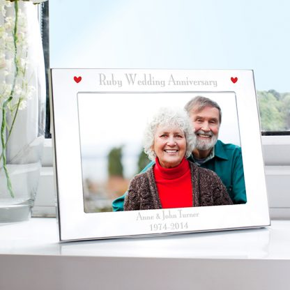 Personalised Silver 7x5 Ruby Anniversary Landscape Photo Frame