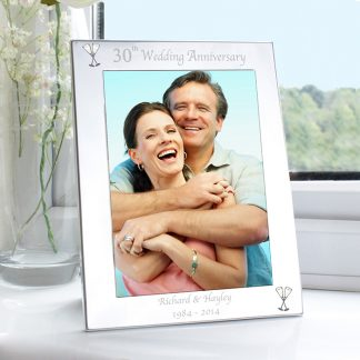 Personalised Silver 7x5 30th Wedding Anniversary Photo Frame