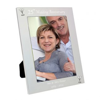 Personalised Silver 7x5 25th Wedding Anniversary Photo Frame