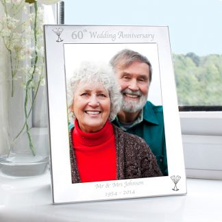 Personalised Silver 7x5 60th Wedding Anniversary Photo Frame
