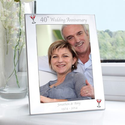 Personalised Silver 7x5 40th Wedding Anniversary Photo Frame