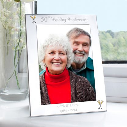 Personalised Silver 7x5 50th Wedding Anniversary Photo Frame