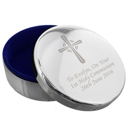 Personalised Silver Cross Rosary Bead Trinket Box