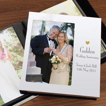 Personalised Decorative Golden Anniversary Photo Frame Album