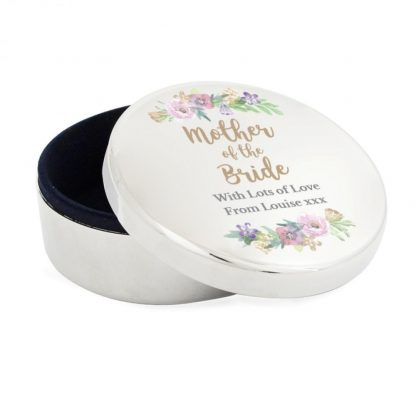 Personalised Floral Watercolour Mother of the Bride Wedding Round Trinket Box