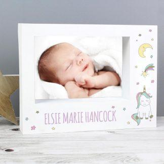 Personalised Baby Unicorn 7x5 Box Photo Frame