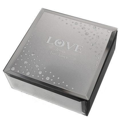 Personalised LOVE Diamante Glass Trinket Box