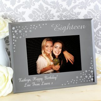 Personalised 18 Diamante 6x4 Glass Photo Frame