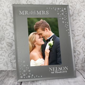 Personalised Mr and Mrs 6x4 Diamante Glass Photo Frame