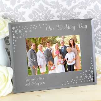 Personalised Diamante Landscape 6x4 Glass Photo Frame