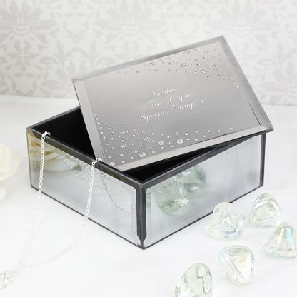 Personalised Diamante Glass Trinket Box