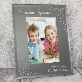 Personalised Diamante 6x4 Portrait Glass Photo Frame