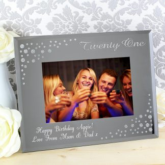 Personalised 21 Diamante 6x4 Glass Photo Frame