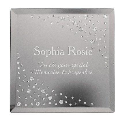 Personalised Diamante Name Glass Trinket Box