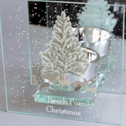 Personalised A Winter's Night Mirrored Glass Tea Light Holder