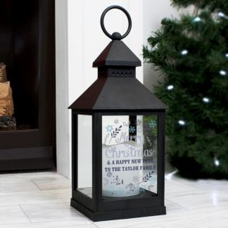 Personalised Christmas Frost Black Lantern