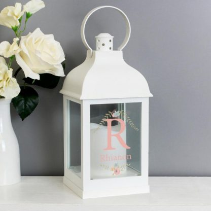 Personalised Floral Bouquet White Lantern