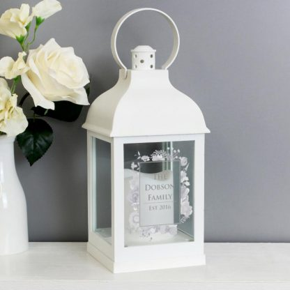 Personalised Soft Watercolour White Lantern