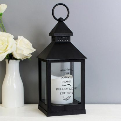 Personalised Antique Scroll Black Lantern