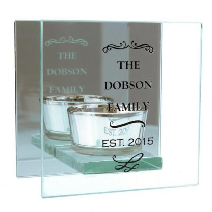 Personalised Antique Scroll Mirrored Glass Tea Light Holder
