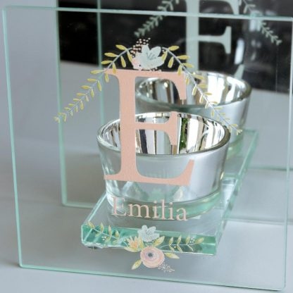 Personalised Floral Bouquet Mirrored Glass Tea Light Holder