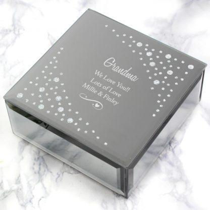 Personalised Swirls & Hearts Diamante Glass Trinket Box