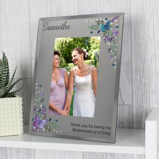 Personalised Butterfly 6x4 Diamante Glass Photo Frame