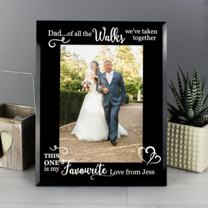 Personalised 'Of All the Walks...' Wedding 7x5 Black Glass Photo Frame